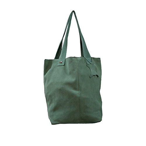 La Auténtica BAG1 - Bolso serraje afelpado verde mar