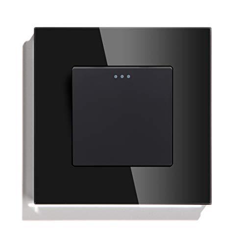 1 Gang 1 Way 2 Way 3 Way Button Button Interruptor Estándar Interruptor de la casa Negro Blanco Dorado con el panel de cristal Interruptor Luz Pared (Color : Black, Size : 2Way)