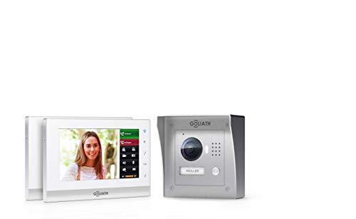 """GOLIATH IP 2 Draht Video Türsprechanlage, 1,3 Megapixel Kamera 150°, 2x 7"""" Innen-Station, Smartphone Handy App, Türöffner, Gegensprechanlage, Video-Sprechanlage, Aufputz Außenstation, Einfamilienhaus Set"""