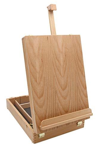 Paintersisters Malkoffer Luca aus Buchenholz FSC®, Tischstaffelei mit Utensilienkoffer, Keilrahmen bis 60cm Höhe, Malbox
