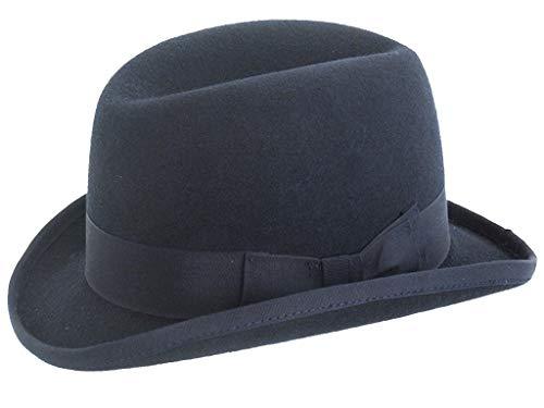 DH Churchill Homburg Filzhut aus 100 % Wolle, handgefertigt Gr. 54, navy
