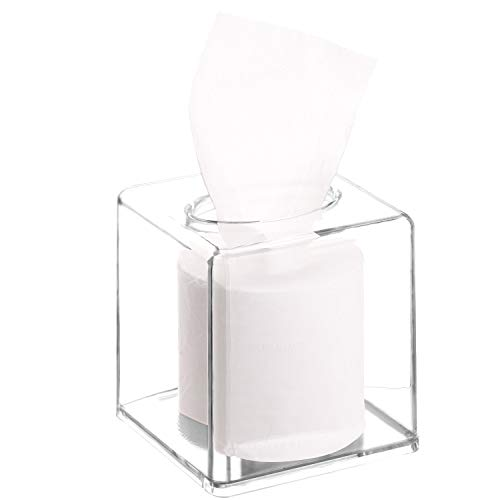 Tecbeauty Extra Thick Acrylic Square Paper Holder Facial Tissue Dispenser Box Napkin Organizer for Bathroom, Kitchen and Office Room (Clear, 5.52 x 5.52 x 5.52 inch)