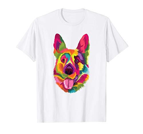 Pop Art Pastor Alemán Regalo de Perros Hombres Mujeres Perro Camiseta