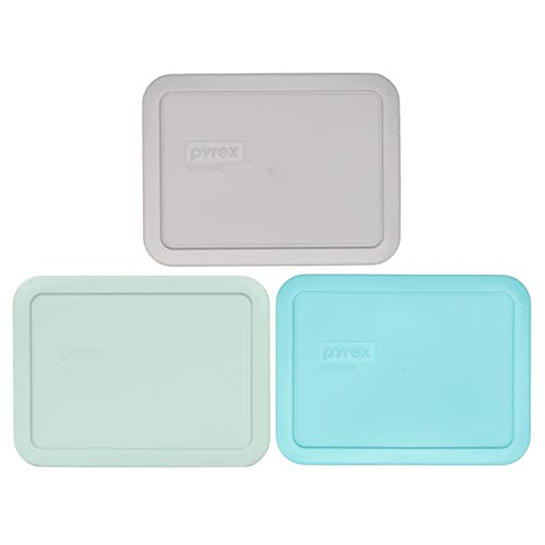 Pyrex 7210-PC 3 cup (1) Jet Gray & (1) Muddy Aqua & (1) Sun Bleached Turquoise Rectangle Plastic Food Storage Replacement Lids