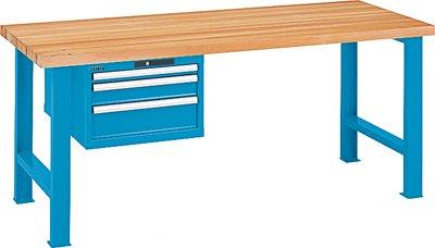 LISTA Werkbank, 2 Füße, 1 Schubladenblock, 3 Schubl. 1x50, 1x100, 1x150 mm, Zylinderschloss, Buchepl.50 mm , BxTxH 2000x800x850 mm, RAL 5012 lichtblau