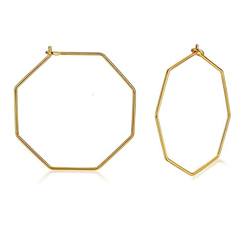 Varía forma geométrica pendientes de aro de gran tamaño para las mujeres de oro sólido acero inoxidable hexagonal cuadrado círculo redondo