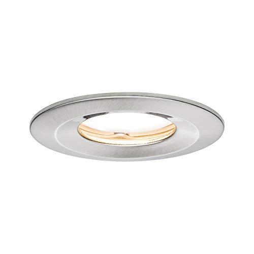 Paulmann Licht 938.82 Paulmann 93882 LED Coin Flache Einbaustrahler Slim Deckenspot rund 6,8W Eisen Einbaulicht dimmbar IP65 strahlwassergeschützt Einbauleuchte, 6.8 W, gebürstet