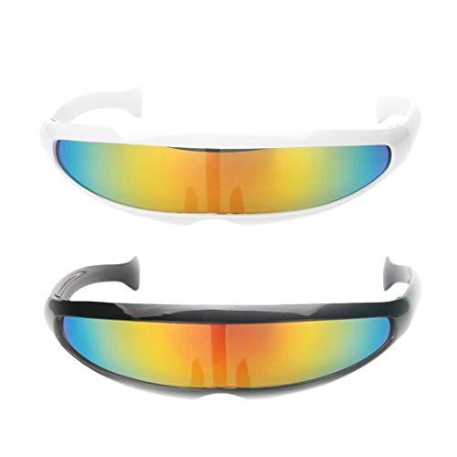 Colcolo 2X Futuristische Neuheit Kunststoff Sonnenbrille Spiegellinse Visier