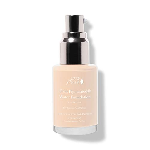 100% PURE Water Foundation (Fruit Pigmented), Neutral 1.0, Full Coverage, Semi-Dewy Finish, For Normal, Dry Skin (Neutral w/ Peachy Undertones for Fair Skin) - 1 Fl Oz