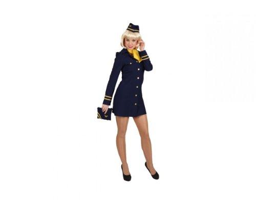 Stewardess blau Kleid Haube Tuch, Größe:36