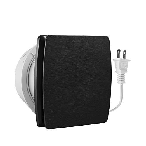 Hon&Guan - Ventilador de ventilación para el hogar de 6 pulgadas, 141 CFM, ventilador de techo y montaje en pared para cocina/baño, súper silencioso, ahorro de energía, fuerte escape (negro)