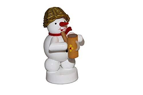 Miniatuur bakkersneeuwpop met slagroomspuit hoogte ca. 8 cm NIEUW Ertsgebergte houten figuur kerstfiguur tafeldecoratie