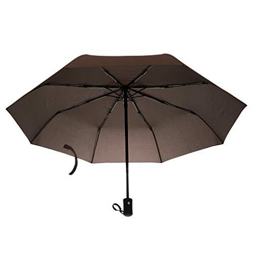 dailymall Winddichte Regenschirm Taschenschirm Golfschirm Partnerschirm Auf-Zu Automatik, Drei Falten, Farbwahl - Kaffee