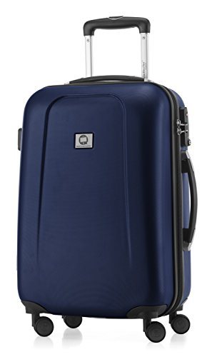 HAUPTSTADTKOFFER - Wedding - Handgepäck Koffer Kabinen Hartschalen-Koffer Trolley Rollkoffer Reisekoffer, TSA, Doppelrollen 55 cm, 42 Liter, Dunkelblau