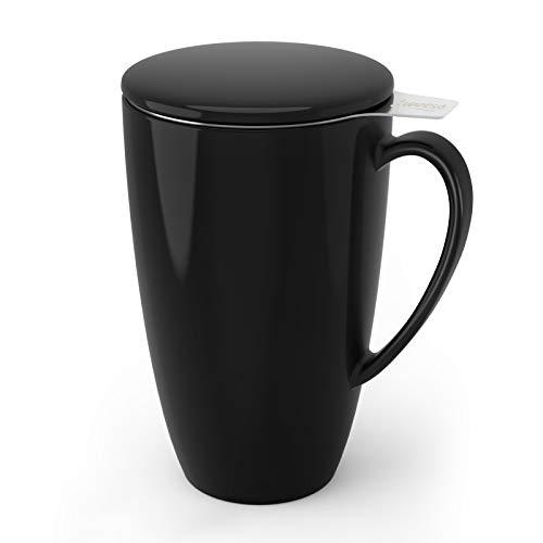 Sweese 201.112 Teetasse mit Deckel und Sieb, Becher aus Porzellan für Losen Tee Oder Beutel, Schwarz, 400 ml