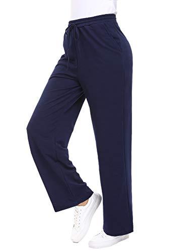 Akalnny Damen Hose lockere Stoffhose Lang Freizeithose aus bequemer Baumwolle Lässige Hose Navy Blau XL