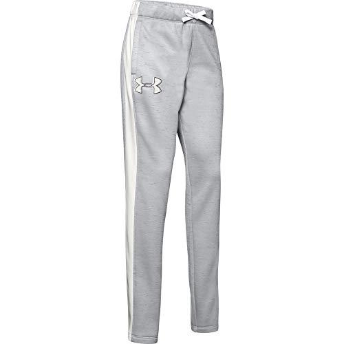 Under Armour Mädchen Armour Fleece Pants, Mädchen, Hosen, Girls' Armour Fleece Pant, Mod Gray (013)/Onyx Weiß, Small