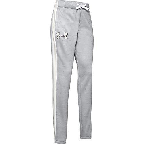 Under Armour Mädchen Armour Fleece Pants, Mädchen, Hosen, Girls' Armour Fleece Pant, Mod Gray (013)/Onyx Weiß, Small