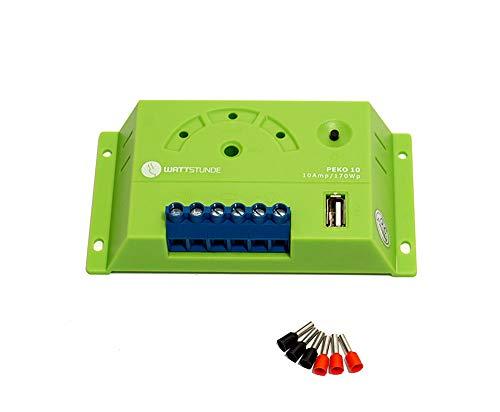 WATTSTUNDE PWM Solar Laderegler PEKO für 12V Anlagen - USB, LED Anzeige und Tiefentladungsschutz (PEKO 10A)