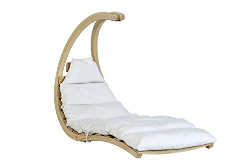 AMAZONAS Swing Lounger Creme stylische Schwebeliege aus hochwertigem FSC Fichtenholz bis 120 kg in Weiß