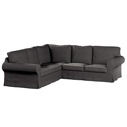 Dekoria Ektorp Ecksofabezug Sofahusse passend für IKEA Modell Ektorp dunkelgrau