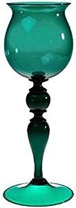 YourMurano - Copa de cristal de Murano, copa individual, copa verde, copa con forma de rombo, hecha a mano, copa de vino, marca de origen garantizada, color verde