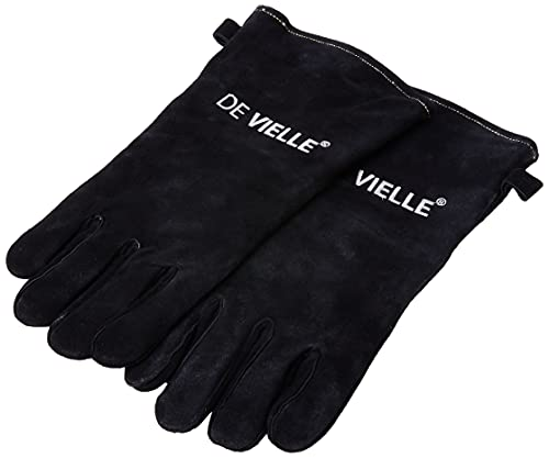 De Vielle Heritage Leather Stove Gloves, Metal, Black, 2 Count (Pack of 1)