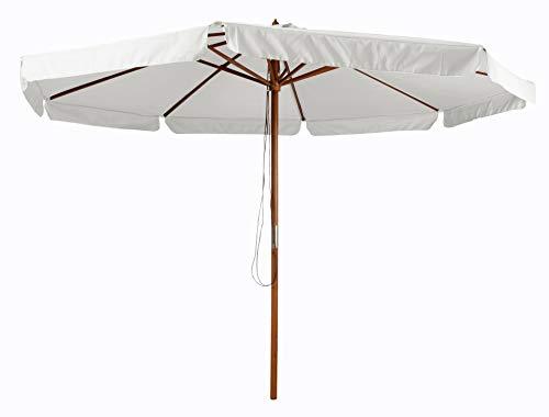 Pure Home & Garden Holz Sonnenschirm Legna 350 cm Natur, mit UV-Schutz 50 Plus und abnehmbarem Bezug