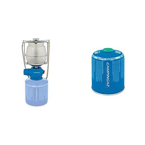 CAMPINGAZ Lumostar Plus PZ Lámpara con Gas, para Cartucho CV 470/Cv 300, Unisex, Azul + CV 470 Plus Cartucho Gas con Valvula, para Cocina Camping, Compacto y Recipiente Sellable