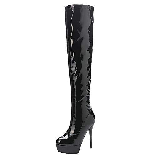 MISSUIT Damen Lack Plateau Overknee Stiefel High Heels Extrem Stiefel Oberschenkel Stiletto Platform Boots Reißverschluss(Schwarz,42)