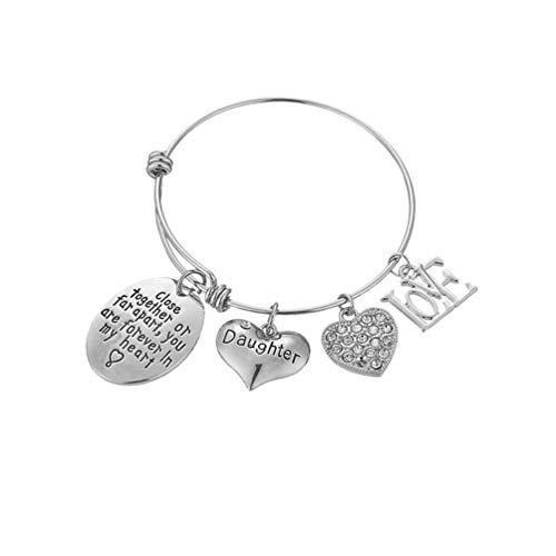 TENDYCOCO Dochter RVS Armband Verjaardag Gift Bangle Hartje Charme Kerstmis Feest Gift Sieraden voor Vrouw Man (zilver)