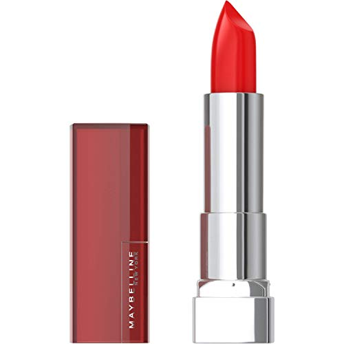Maybelline Color Sensational Lipstick, Lip Makeup, Cream Finish, Hydrating Lipstick, Nude, Pink, Red, Plum Lip Color, On Fire Red, 0.15 oz. (Packaging May Vary)