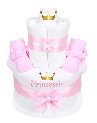 Trend Mama Windeltorte rosa Mädchen Lätzchen Babysocken Prinzessin goldene Krone