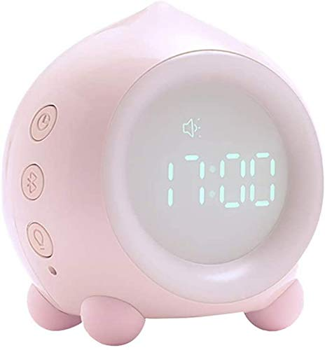 Pillowcase Lámpara de Noche con Altavoz Bluetooth Lámpara táctil Que Cambia de Color Luz de Noche de Noche Regulable, Reloj Despertador Digital Rosa