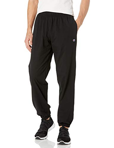 Champion Men's Closed Bottom Light Weight Jersey Jogger, Black, Small