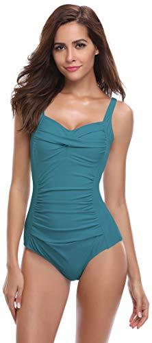SHEKINI Mujer Ajustable Traje de baño Relleno Bañador Arruga de una Pieza Push up Malla (L, Verde Oscuro)