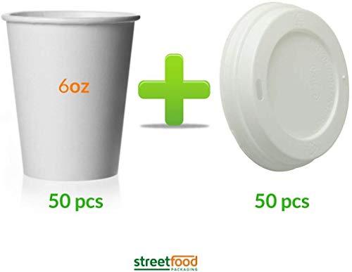 Einweg-Kaffeetasse für heiße Kaffee, einwandig, 50–500 Stück, mit weißen Deckeln (Kombipack), recycelbare Papier-Kaffeebecher, Heißgetränke, für Saft und kalte Getränke, Alternative für Kunststoff, 50
