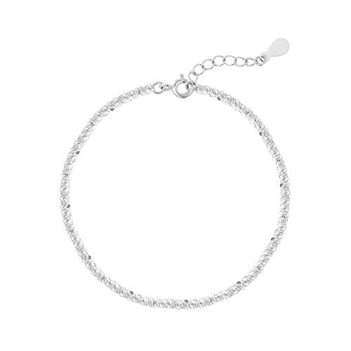 DOOLY Pulsera de Cadena Simple de Moda de Plata de Ley 925 para Mujer, Pulsera Ajustable, joyería Minimalista, Regalos