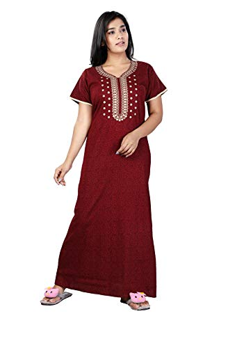 Bailey sells Stylish Printed Cotton Nighty Night Gown/Night Dress for Women Free Size Maroon