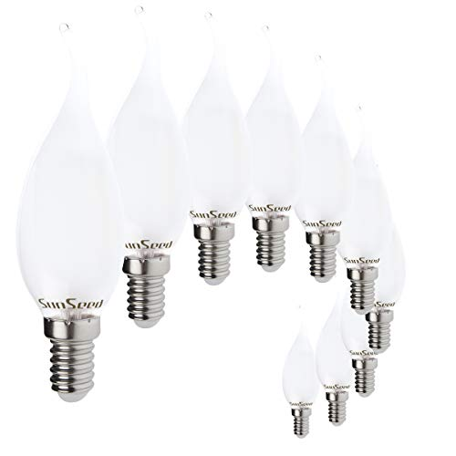 SunSeed 10x Lampadina E14 Filamento LED Opalina 4W Colpo di Vento 360 Lm Luce Calda 2700K