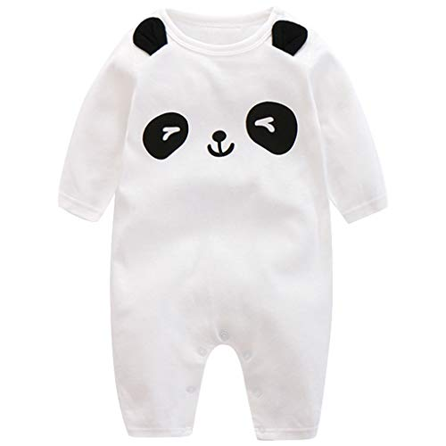 Minizone Monos infantil del bebé de los mamelucos Niños Onsises algodón de manga larga Sleepsuit para Bebé-Niños 9-12 Meses Panda