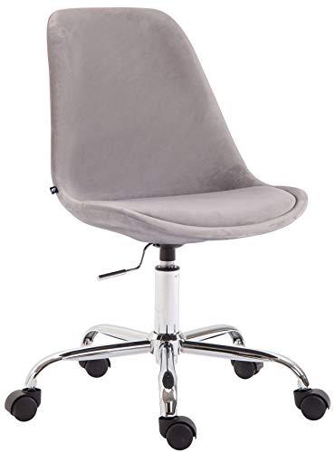 CLP Bürostuhl Toulouse Samt | Schreibtischstuhl Mit Leichtlaufrollen | Drehstuhl Mit Metallgestell In Chrom-Optik, Farbe:grau