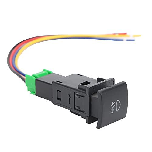 Interruptor de luz antiniebla, Akozon 12V El plastico Interruptor de botón pulsador con luces indicadoras de fondo LED Compatible con luces antiniebla, DRL, barra de luces LED, etc.