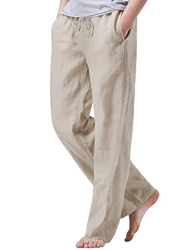 iWoo Mens 100 Percent Linen Pants Casual Pants with Elastic Waist Khaki L
