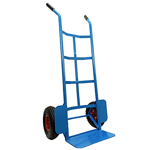 Carrello a mano portapacchi portata max 200 kg in acciaio con ruote pneumatiche | Hand Trolley...