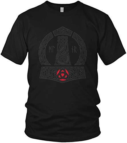 North - The Thor Mjölnir Wikinger Hammer Runen Wikinger Valhalla Walhalla Vikings - Herren T-Shirt und Männer Tshirt, Größe:XL, Farbe:Schwarz Original Rot