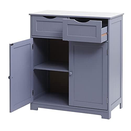 Mendler Kommode HWC-B65, Schubladenschrank Schrank, 2 Schubladen und 2 Türen 80x70x35cm - grau