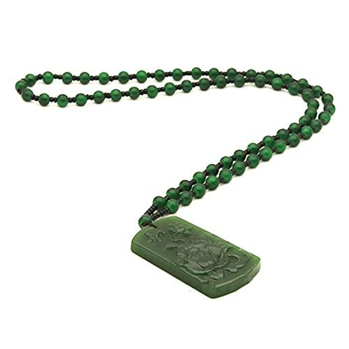 Mano flor natural hombres encanto Jade colgante collar amuleto mujeres joyería verde moda china mariposa para regalos jadeíta