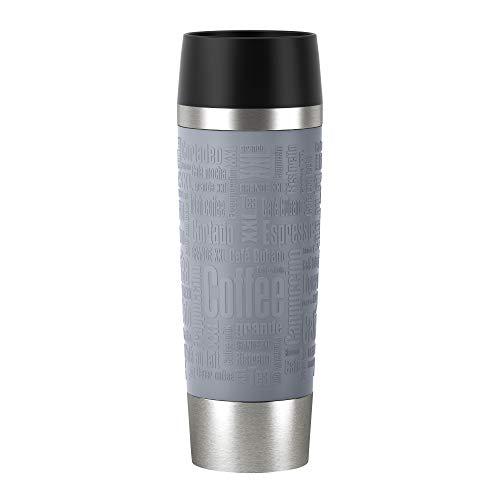 Emsa N2013100 Travel Mug Thermo-/Isolierbecher aus Edelstahl | 0,5 Liter | 6h heiß | 12h kalt | BPA-Frei | 100% dicht | auslaufsicher | spülmaschinengeeignet | 360°-Trinköffnung | Grau