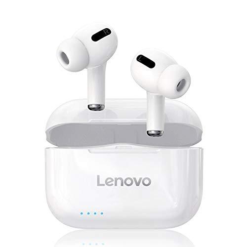 Lenovo LP1S Wireless Earbuds Bluetooth 5.0 Auricolari TWS, Two Hosts IPX4 Cuffie Sportive Impermeabili Cuffie con Microfono Incorporato con Cancellazione del Rumore, Bianca
